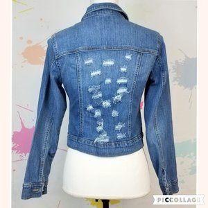 OLD NAVY Distressed Denim Jean Jacket - Girl's XL